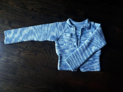 crochet faux-denim coat