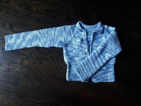 crochet faux-denim coat