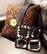 Crochet Throw Pillow and Small Tote